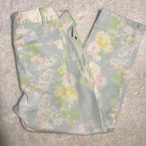 J. Jill Petites Size 2 Stretch Pastel Floral Capri
